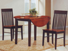 FURNITUREMATTRESSDIRECT-KITCHEN SET SOLID WOOD WITH EXTENDABLE LEAFS - 3 PC - ESPRESSO | OAK H-KS176