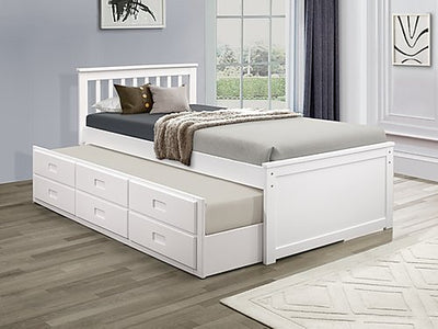 Single Over Single Trundle Bed in White