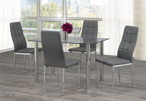 Image of FURNITUREMATTRESSDIRECT-KITCHEN SET WITH CLEAR GLASS TABLE TOP AND BLACK/GREY/WHITE SEAT CUSHION CHAIR H-KS169
