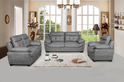 FURNITUREMATTRESSDIRECT-3-PC HIGH TECH SOFA SET IN GREY A-SS111