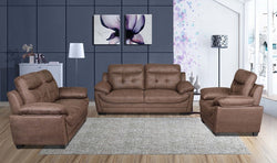 FURNITUREMATTRESSDIRECT-3-PC HIGH TECH SOFA SET IN BROWN ASS112