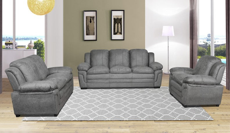 FURNITUREMATTRESSDIRECT-3-PC HIGH TECH SOFA SET IN GREY A-SS113