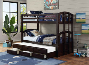 Trundle Bunk Bed With Storage Drawers in Espresso