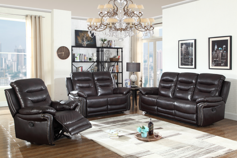 FURNITUREMATTRESSDIRECT-3-PC LEATHER SOFA RECLINER SET IN BROWN A-SS115