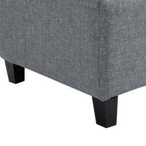 "Large 51"" Tufted Linen Fabric Ottoman Storage Bench Wood Feet Modern Large Plush Upholstered Entry"