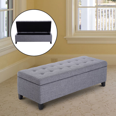 "Image of Large 51"" Tufted Linen Fabric Ottoman Storage Bench Wood Feet Modern Large Plush Upholstered Entry"