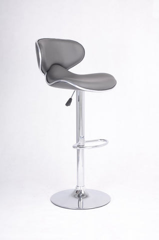 FURNITUREMATTRESSDIRECT-BAR STOOL WITH SWIVEL SEAT IN GREY LEATHER D-BS125