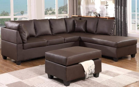 FURNITUREMATTRESSDIRECT-Leather Sectional set with Chaise and Ottoman - Chocolate BG101