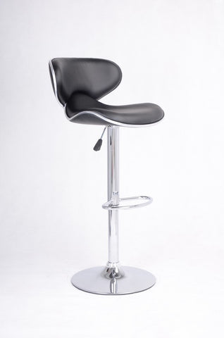 FURNITUREMATTRESSDIRECT-BAR STOOL WITH SWIVEL SEAT IN BLACK LEATHER D-BS129