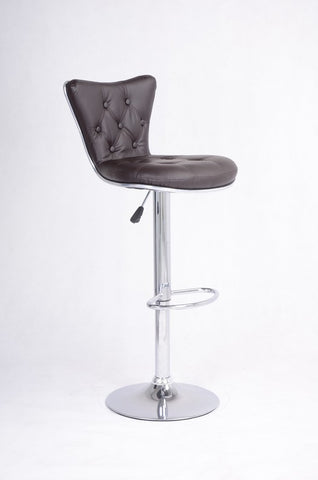 FURNITUREMATTRESSDIRECT-BROWN TUFTED BAR STOOL WITH LEATHER D-BS106