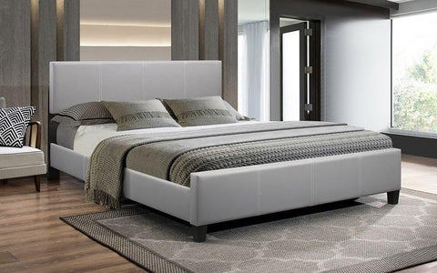 FurnitureMattressDirect-Platform Bed Bonded Leather with Adjustable Height - Grey A92