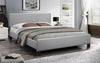 FurnitureMattressDirect-Platform Bed with Bonded Leather - Grey A93
