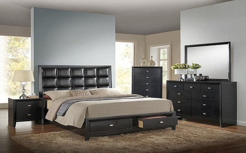 BEDROOM SET WITH TUFTED LEATHER HEAD BOARD 8 PC - BLACK