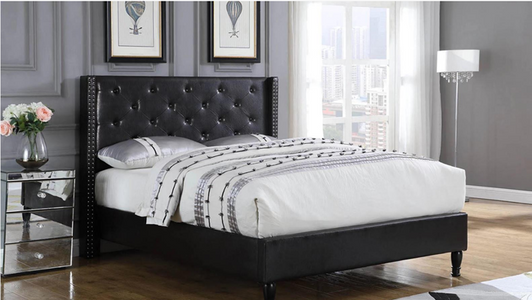 Queen Tufted Bed-Black
