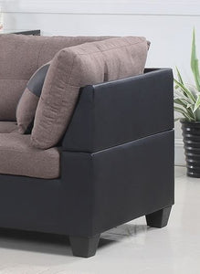 FurnitureMattressDirect- FABRIC SECTIONAL SET WITH CHAISE AND OTTOMAN - TAUPE | BLACK S-SL100