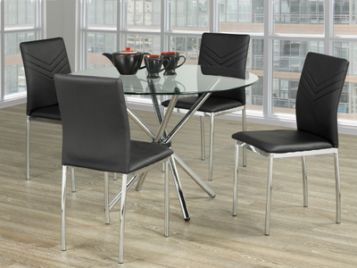 FURNITUREMATTRESSDIRECT-KITCHEN SET- 5PC- GLASS TABLE WITH BLACK CHAIRS H-KS173