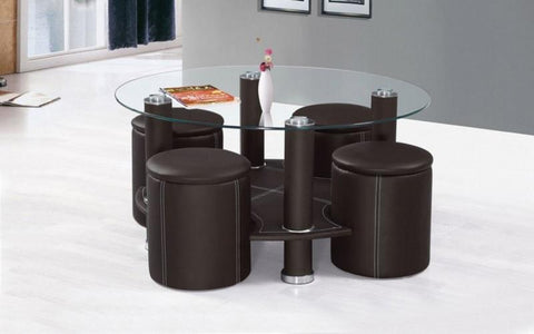 FurnitureMattressDirect- COFFEE TABLE WITH 4 STOOLS - BLACK OR BROWN