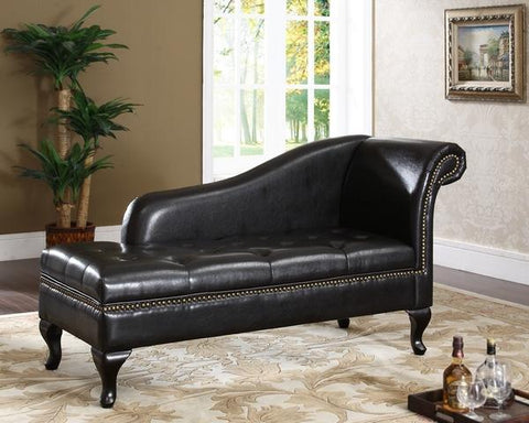 Chaise Tufted with Storage and Nail-Heads
