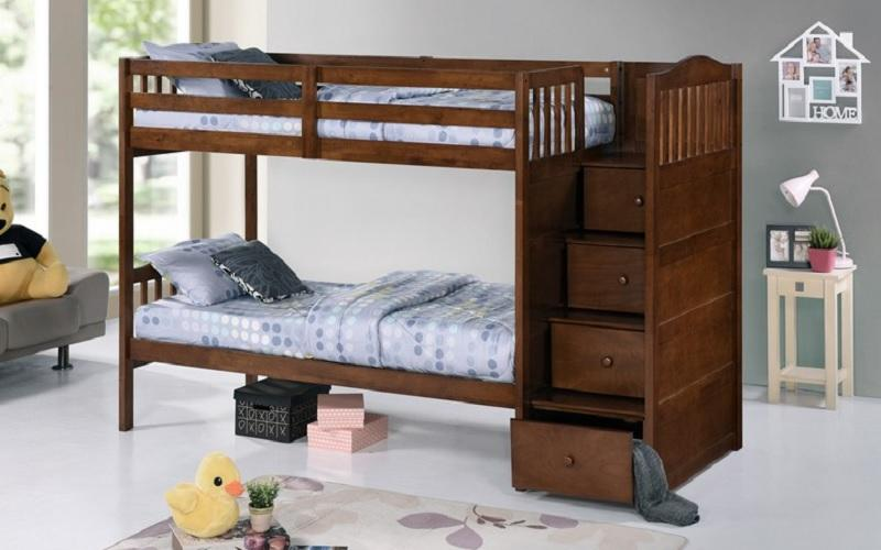 FurnitureMattressDirect-Bunk Bed - Twin over Twin or Double with Drawers, Staircase Solid Wood - Oak