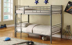 FurnitureMattressDirect-Bunk Bed - Twin over Twin with Metal - Grey | White | Black