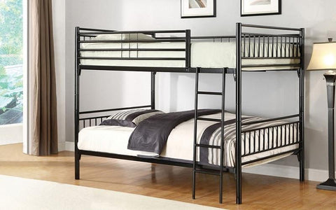 Image of FurnitureMattressDirect-Bunk Bed - Twin over Twin with Metal - Grey | White | Black