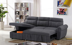 ELEPHANT SKIN SECTIONAL SOFA BED WITH REVERSIBLE CHAISE - GREY YZ