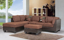 FABRIC SECTIONAL SET WITH REVERSIBLE CHAISE AND OTTOMAN - LIGHT CHOCOLATE | BROWN