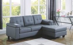 LEATHER SECTIONAL WITH LEFT SIDE OR RIGHT SIDE CHAISE - GREY