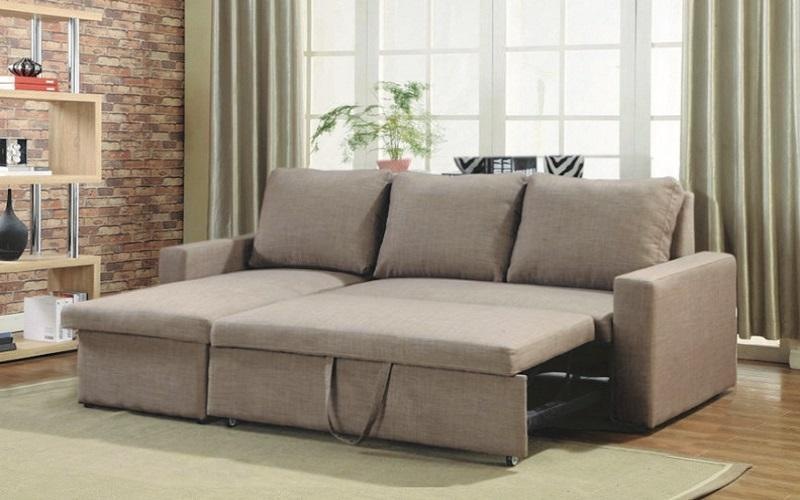 LINEN SECTIONAL SOFA BED WITH REVERSIBLE CHAISE - BROWN