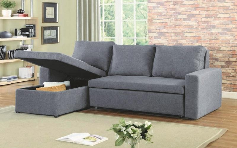 LINEN SECTIONAL SOFA BED WITH REVERSIBLE CHAISE - GREY W