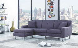 LINEN SECTIONAL WITH REVERSIBLE CHAISE - GREY