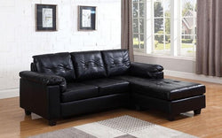 LEATHER SECTIONAL WITH LEFT SIDE OR RIGHT SIDE CHAISE - BLACK