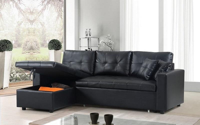 LEATHER SECTIONAL SOFA BED WITH REVERSIBLE CHAISE IN BLACK