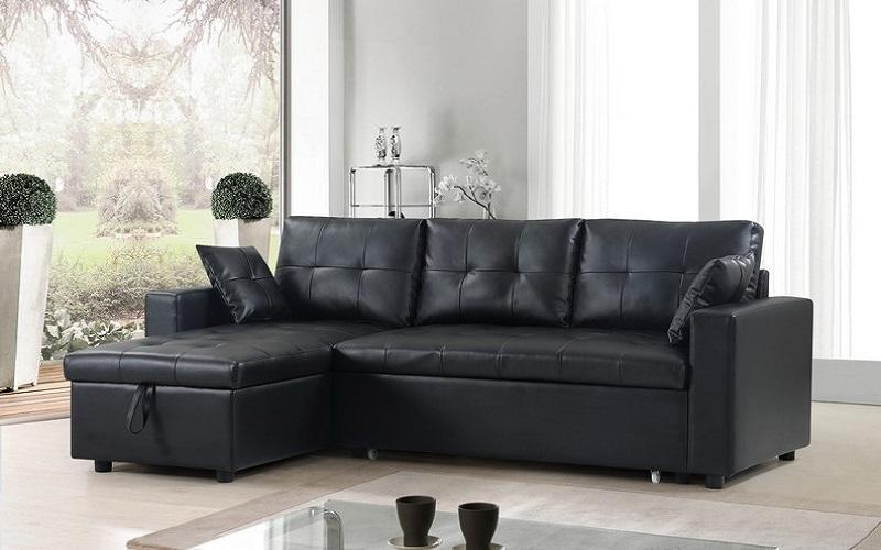 brand new f0373 7579a LEATHER SECTIONAL SOFA BED WITH REVERSIBLE CHAISE IN BLACK