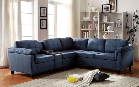 FABRIC SECTIONAL WITH REVERSIBLE CHAISE - BLUE