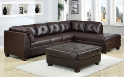 LEATHER SECTIONAL SET WITH LEFT SIDE OR RIGHT SIDE CHAISE AND OTTOMAN - DARK BROWN