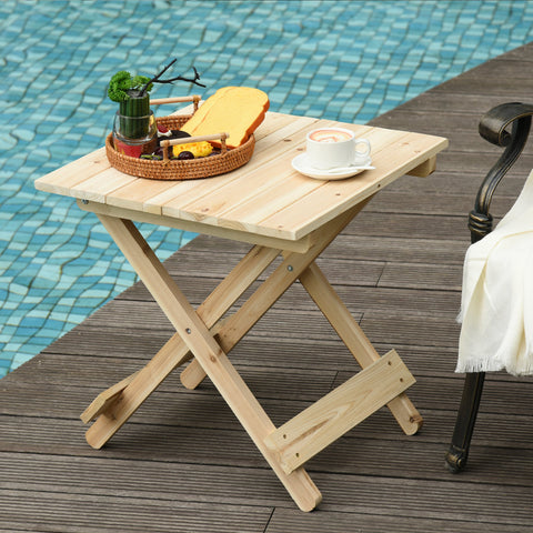 Folding Side Table Portable Outdoor Square Table Quick-Fold All Wood Structure for Beach Camping Picnics Natural Wood Color