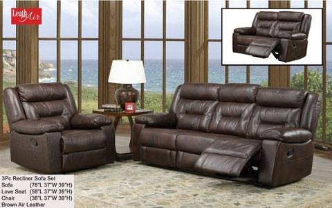FurnitureMattressDirect- 3-Piece Recliner Set - Air Leather - Brown A-SS116