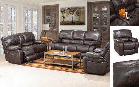 FurnitureMattressDirect- 3-Piece Recliner Set - Air Leather (Chocolate)