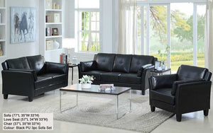 FurnitureMattressDirect- SOFA SET - 3 PIECE - BLACK SLEEK DESIGN A-SS100