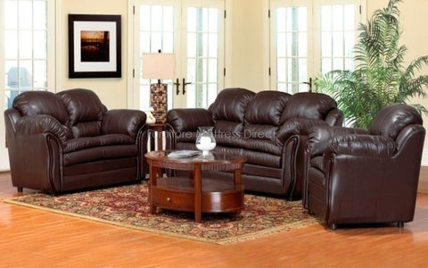 FurnitureMattressDirect- 3-Piece Sofa Set - Bonded Leather (Chocolate)