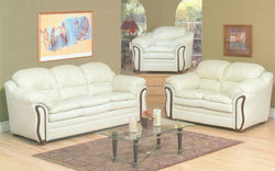 FurnitureMattressDirect- 3-Piece Sofa Set - Bonded Leather (Ivory)
