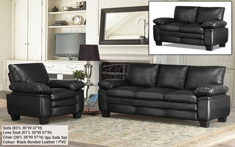 "3-Piece Sofa Set - Bonded Leather / PVC  (Black) Includes Sofa, Love seat and Chair  Model- S-13-IN   Size-  Sofa- 83""L x 35""W x 37""H Loveseat- 61""L x 35""W x 37""H  Chair- 39""L x 35""W x 37""H  Colour- Black Material- Bonded Leather / PVC"