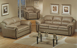 FurnitureMattressDirect- 3-Piece Sofa Set - Bonded Leather (Sand)