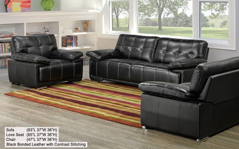 FurnitureMattressDirect- 3-Piece Sofa Set - Bonded Leather with Contrast Stitching (Black) Includes Sofa, Love seat and Chair A-SS102