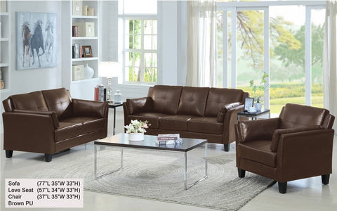 FurnitureMattressDirect- 3-Piece Sofa Set - (Brown) Sleek Design