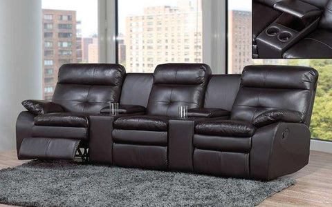 FurnitureMattressDirect- RECLINER THEATRE SOFA WITH AIR LEATHER - BLACK A-SS100