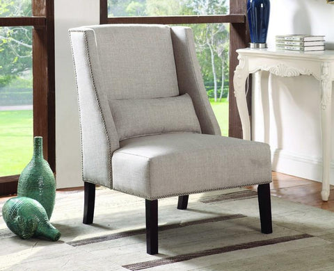 FurnitureMattressDirect- Accent Chair Fabric with Nailhead Details and Accent Pillow - Beige A-AC104