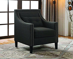 FurnitureMattressDirect- ACCENT CHAIR FABRIC WITH NAILHEAD DETAILS AND ACCENT PILLOW - CHARCOAL
