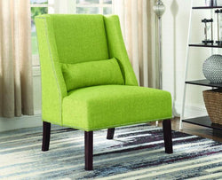 FurnitureMattressDirect- ACCENT CHAIR FABRIC WITH NAILHEAD DETAILS AND ACCENT PILLOW - GREEN